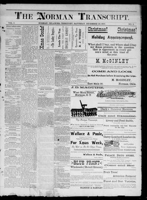 Primary view of The Norman Transcript. (Norman, Okla. Terr.), Vol. 02, No. 09, Ed. 1 Saturday, December 20, 1890