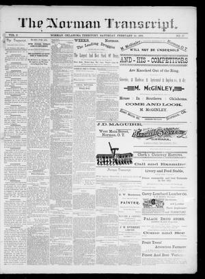 Primary view of object titled 'The Norman Transcript. (Norman, Okla. Terr.), Vol. 02, No. 17, Ed. 1 Saturday, February 14, 1891'.