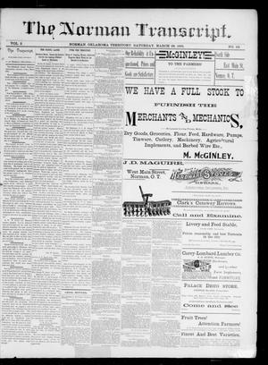 Primary view of object titled 'The Norman Transcript. (Norman, Okla. Terr.), Vol. 02, No. 23, Ed. 1 Saturday, March 28, 1891'.