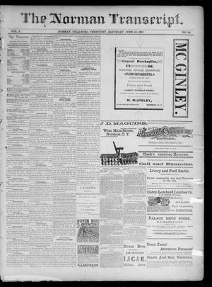 Primary view of The Norman Transcript. (Norman, Okla. Terr.), Vol. 02, No. 34, Ed. 1 Saturday, June 13, 1891