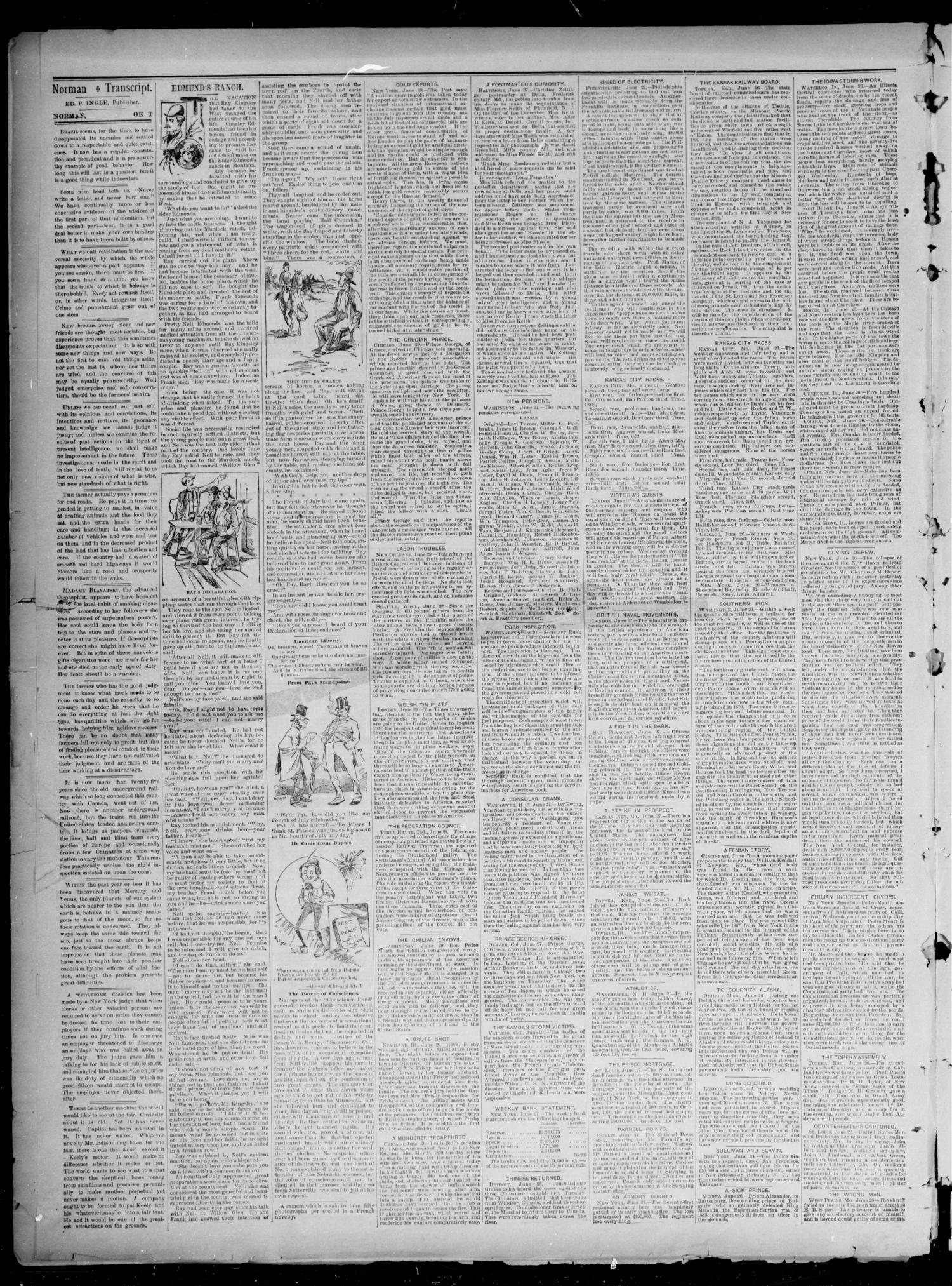 The Norman Transcript. (Norman, Okla. Terr.), Vol. 02, No. 37, Ed. 1 Saturday, July 4, 1891                                                                                                      [Sequence #]: 2 of 4