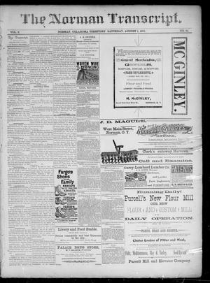Primary view of The Norman Transcript. (Norman, Okla. Terr.), Vol. 02, No. 41, Ed. 1 Saturday, August 1, 1891