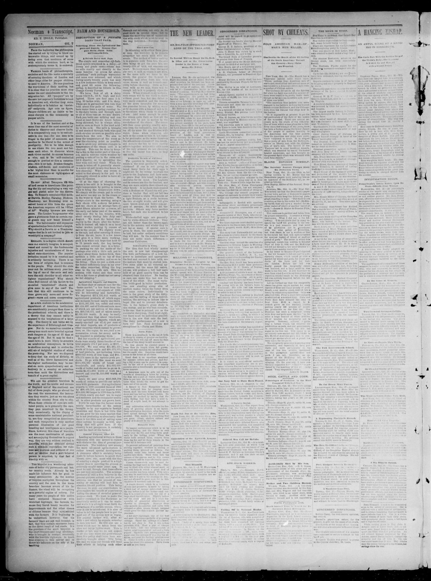 The Norman Transcript. (Norman, Okla. Terr.), Vol. 03, No. 01, Ed. 1 ...