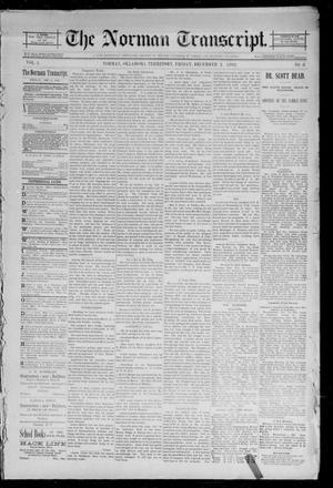 Primary view of object titled 'The Norman Transcript. (Norman, Okla. Terr.), Vol. 04, No. 08, Ed. 1 Friday, December 2, 1892'.