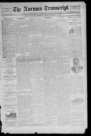 Primary view of object titled 'The Norman Transcript. (Norman, Okla. Terr.), Vol. 04, No. 12, Ed. 1 Friday, December 30, 1892'.