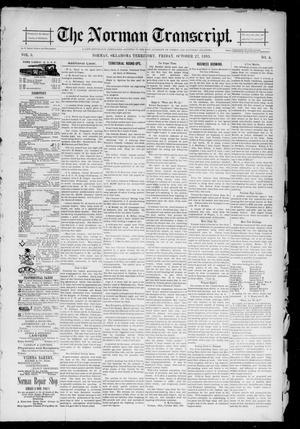 Primary view of object titled 'The Norman Transcript. (Norman, Okla. Terr.), Vol. 05, No. <04>, Ed. 1 Friday, October 27, 1893'.