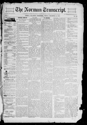 Primary view of object titled 'The Norman Transcript. (Norman, Okla. Terr.), Vol. 05, No. 12, Ed. 1 Friday, December 22, 1893'.