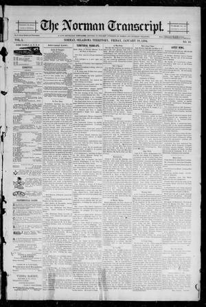 Primary view of object titled 'The Norman Transcript. (Norman, Okla. Terr.), Vol. 05, No. 16, Ed. 1 Friday, January 19, 1894'.