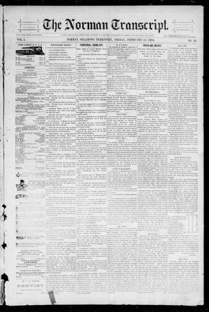 Primary view of object titled 'The Norman Transcript. (Norman, Okla. Terr.), Vol. 05, No. 20, Ed. 1 Friday, February 16, 1894'.