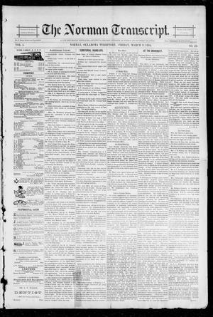 Primary view of object titled 'The Norman Transcript. (Norman, Okla. Terr.), Vol. 05, No. 23, Ed. 1 Friday, March 9, 1894'.