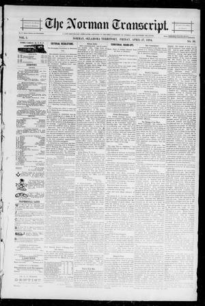 Primary view of object titled 'The Norman Transcript. (Norman, Okla. Terr.), Vol. 05, No. 30, Ed. 1 Friday, April 27, 1894'.