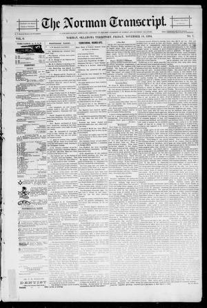 Primary view of object titled 'The Norman Transcript. (Norman, Okla. Terr.), Vol. 06, No. 07, Ed. 1 Friday, November 16, 1894'.