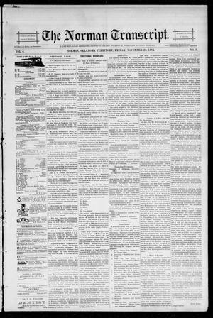 Primary view of object titled 'The Norman Transcript. (Norman, Okla. Terr.), Vol. 06, No. 08, Ed. 1 Friday, November 23, 1894'.