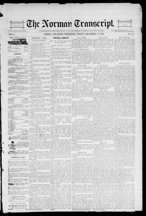 Primary view of object titled 'The Norman Transcript. (Norman, Okla. Terr.), Vol. 06, No. 11, Ed. 1 Friday, December 14, 1894'.