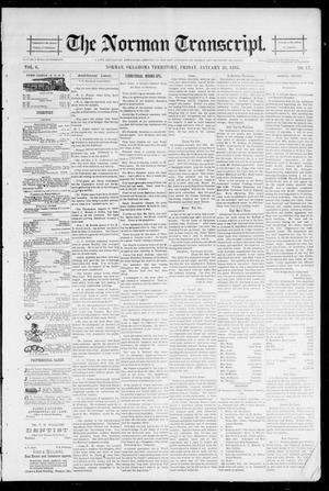 Primary view of object titled 'The Norman Transcript. (Norman, Okla. Terr.), Vol. 06, No. 17, Ed. 1 Friday, January 25, 1895'.