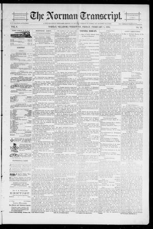 Primary view of object titled 'The Norman Transcript. (Norman, Okla. Terr.), Vol. 06, No. 18, Ed. 1 Friday, February 1, 1895'.