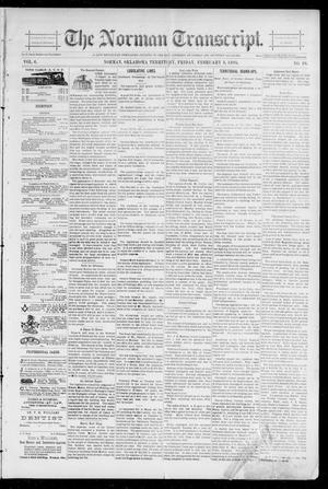 Primary view of object titled 'The Norman Transcript. (Norman, Okla. Terr.), Vol. 06, No. 19, Ed. 1 Friday, February 8, 1895'.