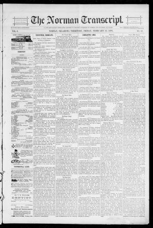 Primary view of object titled 'The Norman Transcript. (Norman, Okla. Terr.), Vol. 06, No. 21, Ed. 1 Friday, February 22, 1895'.