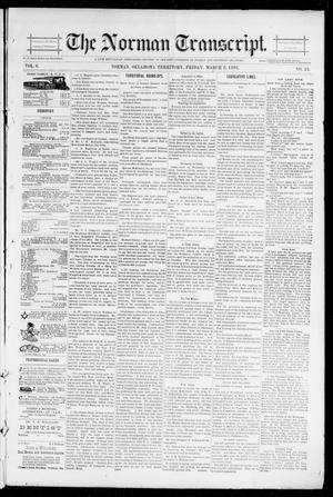 Primary view of object titled 'The Norman Transcript. (Norman, Okla. Terr.), Vol. 06, No. 23, Ed. 1 Friday, March 8, 1895'.