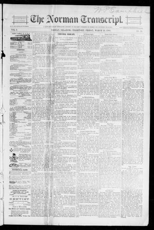 Primary view of object titled 'The Norman Transcript. (Norman, Okla. Terr.), Vol. 06, No. 25, Ed. 1 Friday, March 22, 1895'.