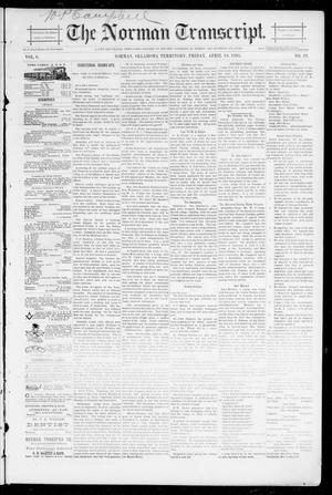 Primary view of object titled 'The Norman Transcript. (Norman, Okla. Terr.), Vol. 06, No. 29, Ed. 1 Friday, April 19, 1895'.