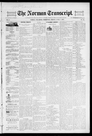 Primary view of object titled 'The Norman Transcript. (Norman, Okla. Terr.), Vol. 06, No. 36, Ed. 1 Friday, June 7, 1895'.