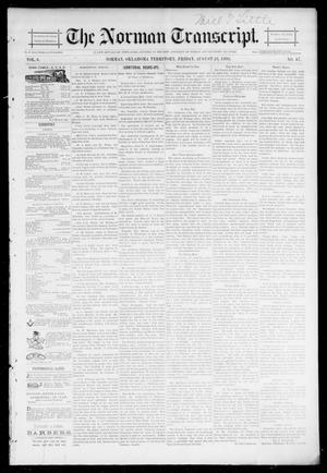 Primary view of object titled 'The Norman Transcript. (Norman, Okla. Terr.), Vol. 06, No. 47, Ed. 1 Friday, August 23, 1895'.