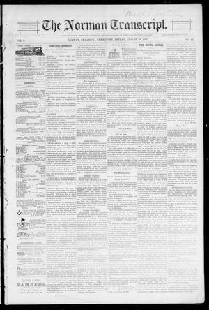 Primary view of object titled 'The Norman Transcript. (Norman, Okla. Terr.), Vol. 06, No. 48, Ed. 1 Friday, August 30, 1895'.