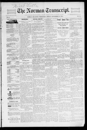Primary view of object titled 'The Norman Transcript. (Norman, Okla. Terr.), Vol. 06, No. 51, Ed. 1 Friday, September 20, 1895'.
