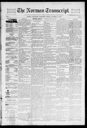 Primary view of object titled 'The Norman Transcript. (Norman, Okla. Terr.), Vol. 07, No. 02, Ed. 1 Friday, October 11, 1895'.