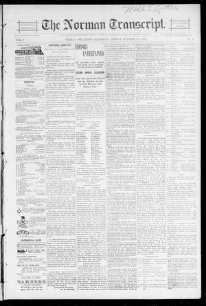 Primary view of object titled 'The Norman Transcript. (Norman, Okla. Terr.), Vol. 07, No. 03, Ed. 1 Friday, October 18, 1895'.