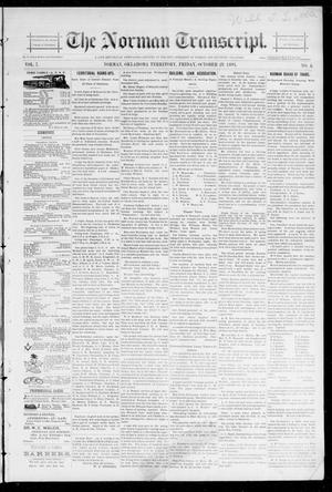 Primary view of object titled 'The Norman Transcript. (Norman, Okla. Terr.), Vol. 07, No. 04, Ed. 1 Friday, October 25, 1895'.