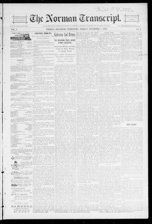 Primary view of object titled 'The Norman Transcript. (Norman, Okla. Terr.), Vol. 07, No. 05, Ed. 1 Friday, November 1, 1895'.