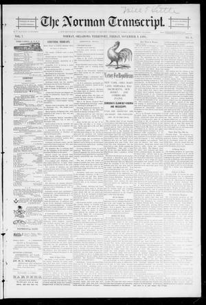 Primary view of object titled 'The Norman Transcript. (Norman, Okla. Terr.), Vol. 07, No. 06, Ed. 1 Friday, November 8, 1895'.