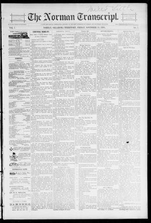 Primary view of object titled 'The Norman Transcript. (Norman, Okla. Terr.), Vol. 07, No. 07, Ed. 1 Friday, November 15, 1895'.