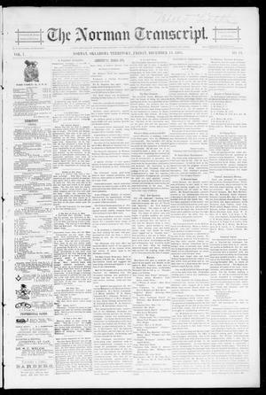 Primary view of object titled 'The Norman Transcript. (Norman, Okla. Terr.), Vol. 07, No. 11, Ed. 1 Friday, December 13, 1895'.