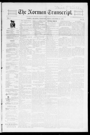 Primary view of object titled 'The Norman Transcript. (Norman, Okla. Terr.), Vol. 07, No. 12, Ed. 1 Friday, December 20, 1895'.