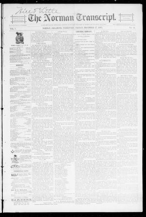 Primary view of object titled 'The Norman Transcript. (Norman, Okla. Terr.), Vol. 07, No. 13, Ed. 1 Friday, December 27, 1895'.