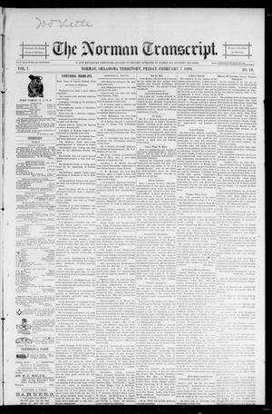 Primary view of object titled 'The Norman Transcript. (Norman, Okla. Terr.), Vol. 07, No. 19, Ed. 1 Friday, February 7, 1896'.
