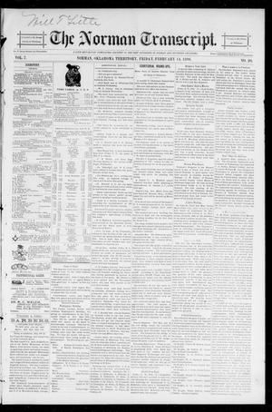 Primary view of object titled 'The Norman Transcript. (Norman, Okla. Terr.), Vol. 07, No. 20, Ed. 1 Friday, February 14, 1896'.