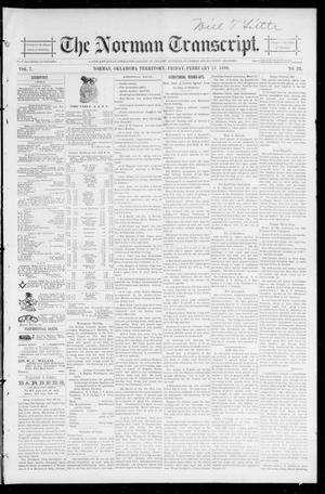 Primary view of object titled 'The Norman Transcript. (Norman, Okla. Terr.), Vol. 07, No. 21, Ed. 1 Friday, February 21, 1896'.