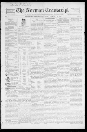 Primary view of object titled 'The Norman Transcript. (Norman, Okla. Terr.), Vol. 07, No. 22, Ed. 1 Friday, February 28, 1896'.