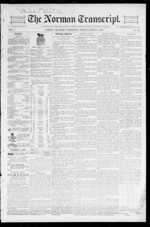 Primary view of object titled 'The Norman Transcript. (Norman, Okla. Terr.), Vol. 07, No. 23, Ed. 1 Friday, March 6, 1896'.