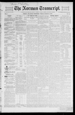 Primary view of object titled 'The Norman Transcript. (Norman, Okla. Terr.), Vol. 07, No. 25, Ed. 1 Friday, March 20, 1896'.