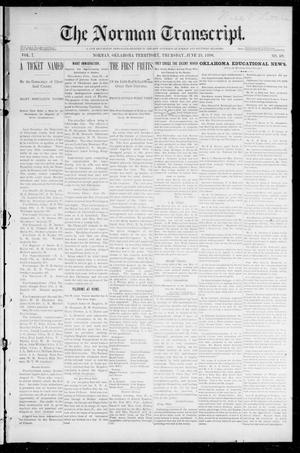 Primary view of object titled 'The Norman Transcript. (Norman, Okla. Terr.), Vol. 07, No. 39, Ed. 1 Friday, June 26, 1896'.
