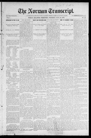 Primary view of The Norman Transcript. (Norman, Okla. Terr.), Vol. 07, No. 43, Ed. 1 Friday, July 24, 1896