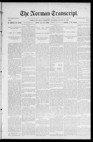 Primary view of object titled 'The Norman Transcript. (Norman, Okla. Terr.), Vol. 07, No. 46, Ed. 1 Friday, August 14, 1896'.