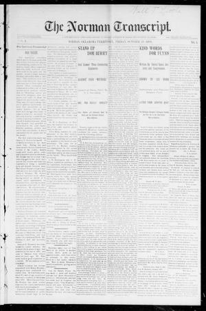 Primary view of object titled 'The Norman Transcript. (Norman, Okla. Terr.), Vol. 08, No. 05, Ed. 1 Friday, October 30, 1896'.