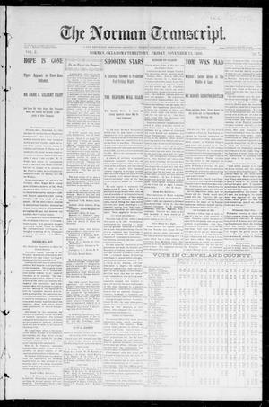 Primary view of object titled 'The Norman Transcript. (Norman, Okla. Terr.), Vol. 08, No. 07, Ed. 1 Friday, November 13, 1896'.