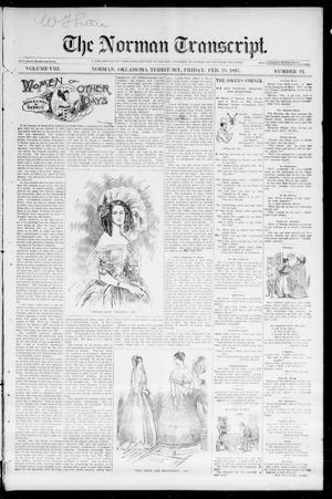 Primary view of object titled 'The Norman Transcript. (Norman, Okla. Terr.), Vol. 08, No. 21, Ed. 1 Friday, February 26, 1897'.